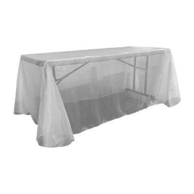 La Linen Sheer Mirror Organza Rectangular Tablecloth Color: White