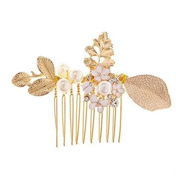 MagiDeal Bridal Wedding Clover Pearl Rhinestone Flower Floral Hair Comb G