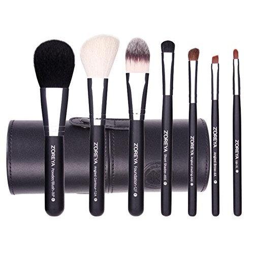 Makeup Brush Set Black Cone- 7 Zoreya Professional Makeup Brushes With Premium Synthetic Fiber And Free Luxury Case Kit