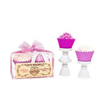 Large Cupcake Bath Bomb Set With Strawberry Cream & Black Raspberry Vanilla Scents by H2O Potions Sweet Indulgence [Strawberry & Cream / Black Raspberry Vanilla]