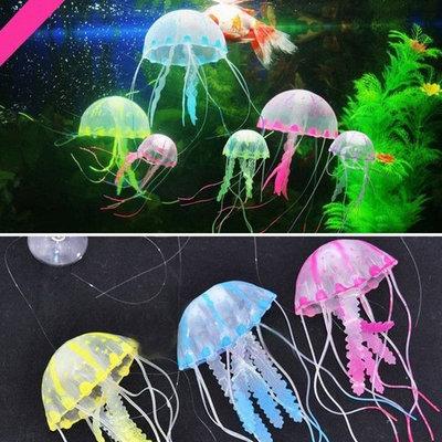 Glowing Effect Artificial Jellyfish Ornament Fish Tank Aquarium Decoration