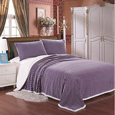 Plazatex Mermaid Sherpa Blanket Oversized Solid Reversible Queen - Lavender