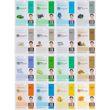 DERMAL Collagen Essence Full Face Facial Mask Sheet, 16 Combo Pack B