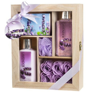 Lavender Spa Set - Complete Bath and Body Relaxation Kit With Body Lotion ~ Shower Gel ~ Bath Salts ~ & Rose Soaps - Bath Gift Set in Distressed White Wood Curio Perfect Gift for Women