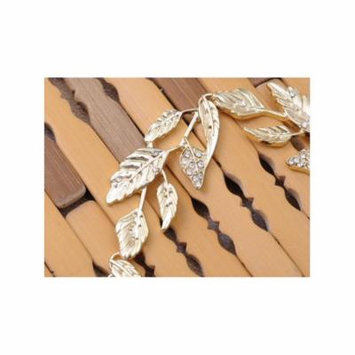 Golden Tone Delicate Leaves White Rhinestone Accented Fashion Stretch Headband
