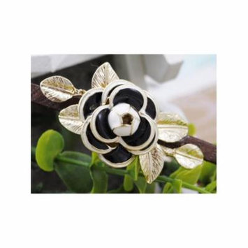 Forest Princess Gold Leaves White Black Enamel Single Rose Hair Piece Headband