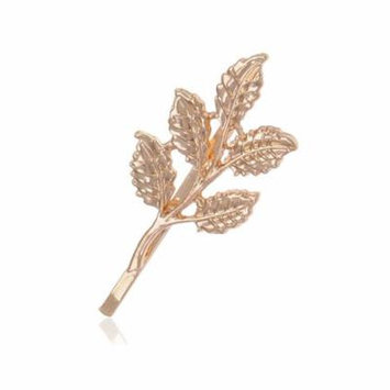 Golden Tone Petit Realistic Simple Lucky Five Leaf Stem Autumn Hair Clip Pin