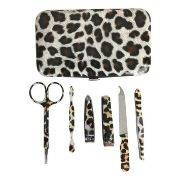 Manicure Pedicure Kit, Nail Clippers Travel Set, Leopard Animal Print