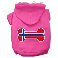 Mirage Pet Products Bone Shaped Norway Flag Screen Print Pet Hoodies Bright Pink Size L (14)