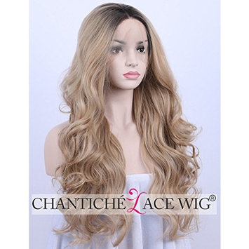 Chantiche Fashionable Ombre Wavy Synthetic Full Hair Wig Natural Looking Dark Roots to Blonde Synthetic Lace Front Wigs for Ladies 24inch
