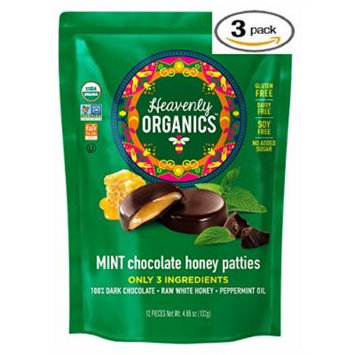 Heavenly Organics Mint Chocolate Honey Patties, (3 Bags) Made with 100% Organic Cocoa and 100% Organic Raw White Honey; Non-GMO, Fair Trade, Kosher, Dairy & Gluten Free, No Sugar Added