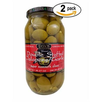 2 Pack Of Tassos All Natural Double Stuffed Jalapeno And Garlic Super Mammoth Olives (2X35.27 oz.)