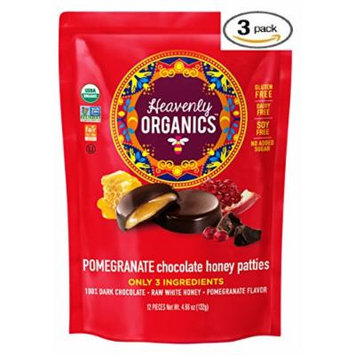 Heavenly Organics Pomegranate Chocolate Honey Patties (3 Bags) Made with 100% Organic Cocoa and 100% Organic Raw White Honey; Non-GMO, Fair Trade, Kosher, Dairy & Gluten Free, No Sugar Added
