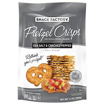 Snack Factory Pretzel Crisps, Sea Salt & Cracked Pepper, 7.2 Ounce (Pack of 12)