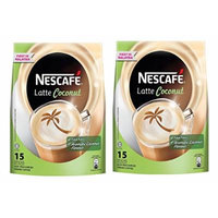2 PACK NESCAFÉ Latte Coconut Instant Coffee Powder - 15 sachets x 30gm – Rich Delicious Aromatic Creamy Non-Bitter PreMix Coffee with Coconut flavor – GET IN ONE WEEK – FREE EXPRESS SHIPPING