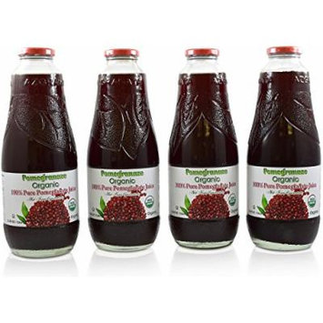 100% Organic Pomegranate Juice – 4 Pack - 33.8 fl oz – USDA Certified - Glass Bottle - No Sugar Added - No Preservatives - Squeezed From Fresh Pomegranates