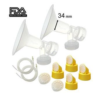 Maymom Breast Pump Kit for Medela Pump in Style Advanced Breast Pumps; 2x Breastshields (one-piece, mm), 4 Valves, 6 Membranes, 2 Pump-in-Style Tubing; Can Replace Medela Valve, (34 mm XXL-)