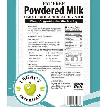 Legacy Essentials Long Term Powdered Milk - 5 Year Shelf Life Powdered Milk for Emergency Food Storage Supply (Quantity 6 in Bucket)