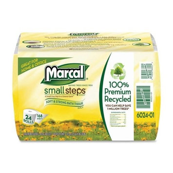 Marcal Toilet Paper, 100% Recycled, 2-Ply, White Bath Tissue - 168 Sheets Per Roll, 4 Rolls Per Pack, 6 Packs Per Case for 24 Giant Rolls, Green Seal Certified 06024