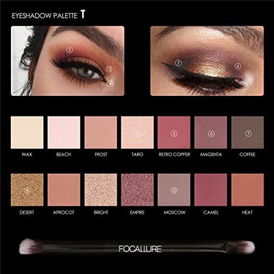 FOCALLURE 14 Colors Eyeshadow Palette Matte Glitter Shimmer Tropical Vacation Eyeshadow Palette with Brush Style 1