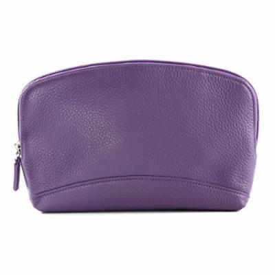 Large Cosmetic Bag - Full Grain Leather - Grape (purple)