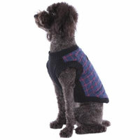 Dog's Plaid Quilted Sweater Fleece Zip Up Vest with Leash D-Ring, Navy, Small