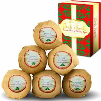 Bath Bombs Holiday Gift Set of 6, Christmas Fizzies for Her & Him, Relieves Pain & Moisturizes Dry Skin, By Premium Nature