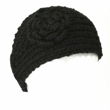 Wrapables® Hand Knit Floral Headband, Black
