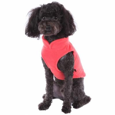 Solid Fleece Vest Soft Dog Sweater Harness with O-Ring, Pumpkin, XS