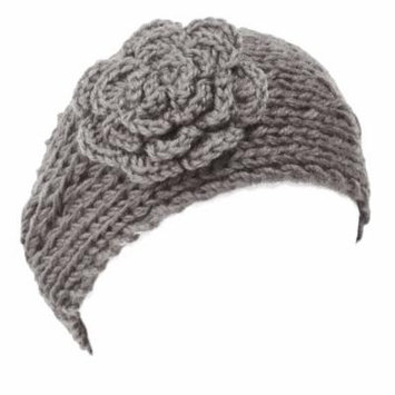 Wrapables® Hand Knit Floral Headband, Light Grey