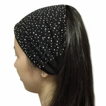 Wrapables® Wide Fabric Headbands with Rhinestones, Jet Black