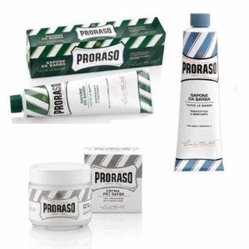 Proraso Shaving Cream, Menthol & Eucoplytus 150 ml + Proraso Shaving Cream, Aloe & Vitamin E 150 ml + Proraso Pre Shaving Cream w/ Green Tea & Oatmeal 100 ml