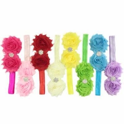 Wrapables® Set of 8 Frayed Shabby Chic Double Rose Baby Headbands
