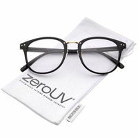 zeroUV - Classic Metal Nose Bridge Clear Lens Square Horn Rimmed Glasses 52mm - 52mm