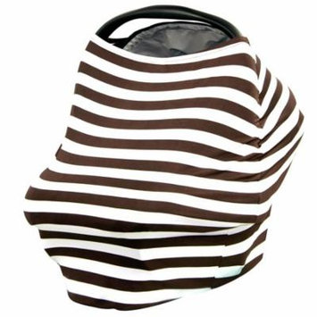 JLIKA Baby Car Seat Canopy Cover and Stretchy Nursing Cover - Chocolate White Stripe