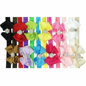 Wrapables® Ribbon Bow with Rhinestone Button Center Stretchy Headband, Set of 12