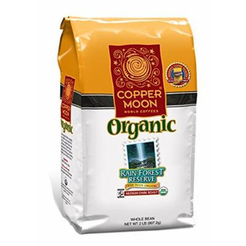 Copper Moon Fair Trade Organic Whole Bean Coffee, Rainforest Reserve, 2 Pound