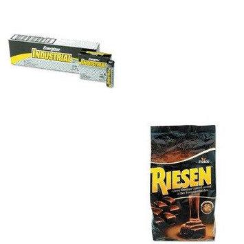 KITEVEEN91RSN398052 - Value Kit - Riesen Chocolate Caramel Candies (RSN398052) and Energizer Industrial Alkaline Batteries (EVEEN91)