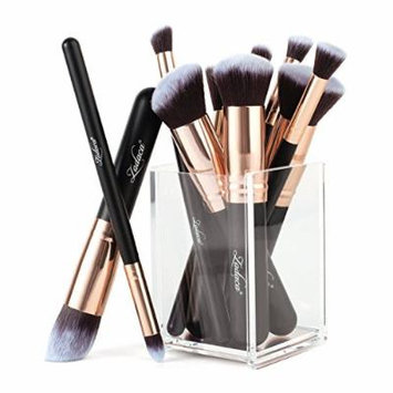 Zodaca 10-Piece Set Fluffiest & softest Makeup Brush And Acrylic Cosmetic Makeup Brush Holder Organizer Stand, Clear/Rose Gold