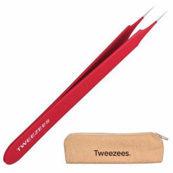 Professional Pointed Ingrown Hair Splinter Tip Tweezers - Tweezees Precision Red Coated Stainless Steel Tweezers - Extra Sharp and Perfectly Aligned for Ingrown Hair Treatment & Splinter Removal