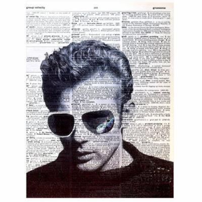Art N Wordz James Dean Sunglasses Original Dictionary Sheet Pop Art Wall or Desk Art Print Poster