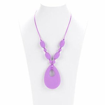 Consider It Maid Silicone Teething Necklace for Mom to Wear - BPA FREE and FDA Approved - Baby Love (Purple)