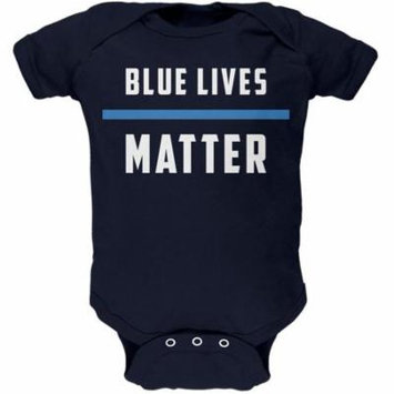 4th of July Police Blue Lives Matter Thin Blue Line Navy Soft Baby One Piece