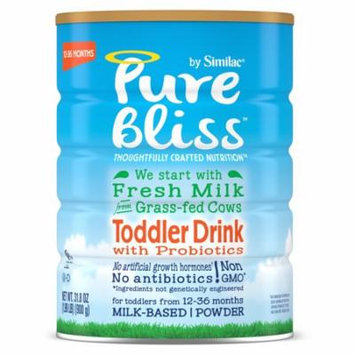 Pure Bliss by Similac Toddler Drink with Probiotics, Starts with Fresh Milk from Grass-Fed Cows, 31.8 ounces (Pack of 4)