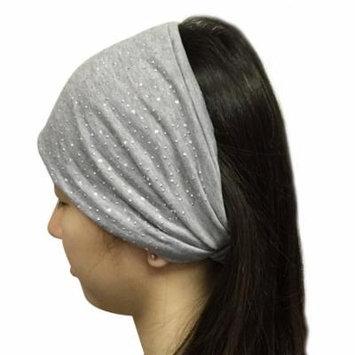 Wrapables® Wide Fabric Headbands with Rhinestones, Mist Gray