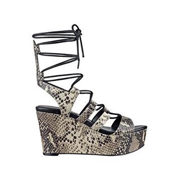 GUESS Women's Denaya Python-Print Flatform Sandals