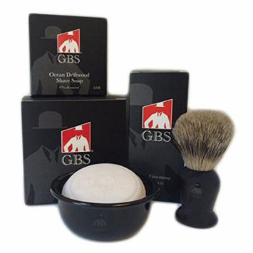 GBS 3 Piece set -Comes in Gift Box- Pure Badger Shaving Brush, GBS Bowl and Soap! 97% All Natural Gbs Ocean Driftwood Shave Soap (Black)