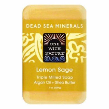 One With Nature Lemon Sage Triple Milled Soap, 7 OZ