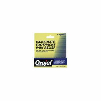 6 Pack - Orajel Liquid Oral Pain reliever Max Strength for Toothache 0.45oz Each