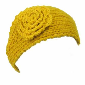 Wrapables® Hand Knit Floral Headband, Yellow